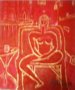 赤の中の裸婦