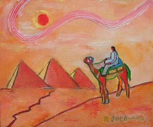 砂漠を行くラクダと旅人_1435