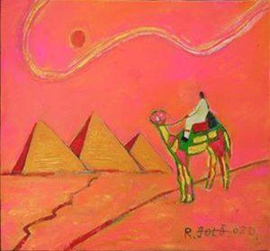 ピラミッドを見るラクダと旅人_1435
